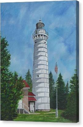 Canna Island Lighthouse In Door County Canvas Print by Stacy Crane