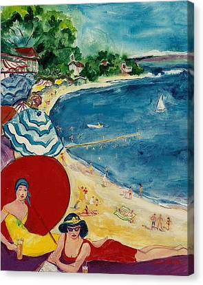 Canvas Print featuring the painting Cannes by Elaine Elliott
