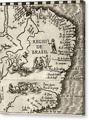 Cannibal Legends In Brazil Canvas Print by Library Of Congress, Geography And Map Division