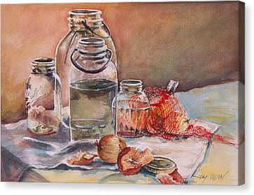 Canning Jars And Onions Canvas Print by Joy Nichols