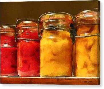 Canning Jars Of Tomatoes And Peaches Canvas Print by Susan Savad