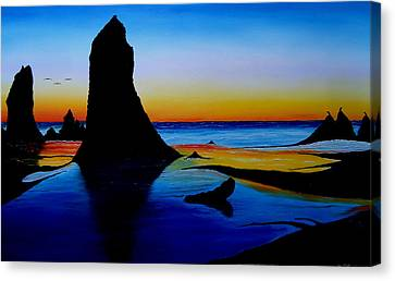 Cannon Beach At Sunset 15 Canvas Print by Portland Art Creations