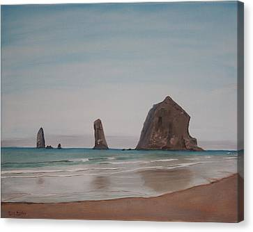 Canvas Print featuring the painting Cannon Beach Haystack Rock by Ian Donley