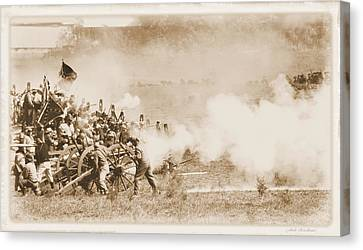 Canvas Print featuring the photograph Cannon Fire by Judi Quelland