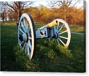 Canvas Print featuring the photograph Cannon In The Grass by Michael Porchik