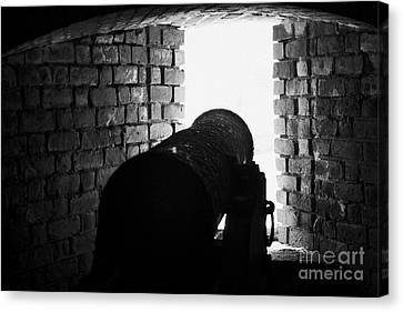 Cannon Pointing Out Of Wall Port In Fort Jefferson Dry Tortugas National Park Florida Keys Usa Canvas Print by Joe Fox