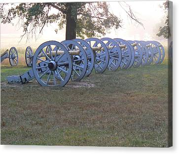 Canvas Print featuring the photograph Cannon's In Fog by Michael Porchik
