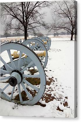 Cannon's In The Snow Canvas Print by Michael Porchik