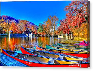 Canoe In Waiting Canvas Print