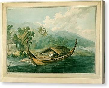 Canoe Canvas Print - Canoe Of Raiatea by British Library