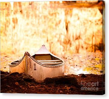 Canoe On Caddo Lake Canvas Print by Sonja Quintero