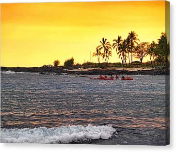 Canoe On Kona Coast Canvas Print by Athala Carole Bruckner