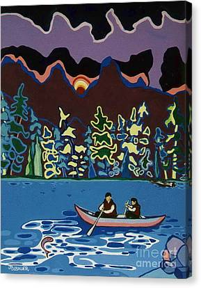 Canoe On Lightning Lake Canvas Print by Joyce Gebauer