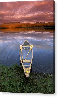 Canoe On Otter Lake Evening Light Canvas Print by Michael DeYoung