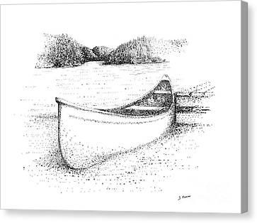 Canoe On The Beach Canvas Print