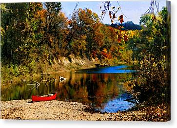 Canvas Print featuring the photograph Canoe On The Gasconade River by Steve Karol
