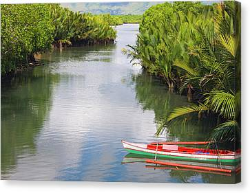 Canoe Canvas Print - Canoe On The River, Bohol Island by Keren Su