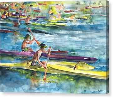 Canoe Race In Polynesia Canvas Print by Miki De Goodaboom