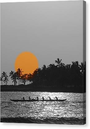 Canoe Ride In The Sunset Canvas Print by Athala Carole Bruckner