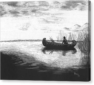 Canoe Silhouette Canvas Print by Lawrence Tripoli