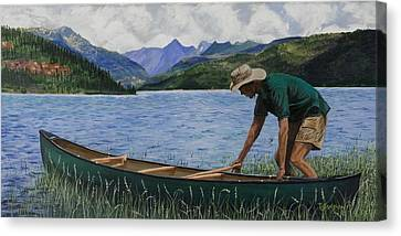 Canoeing Vallecito Canvas Print by Timithy L Gordon