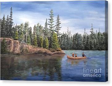 Canoeing With Dad Canvas Print by J O Huppler