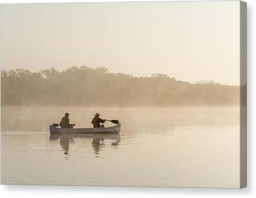 Canoeists At Dawn Everglades Np Florida Canvas Print by Scott Leslie
