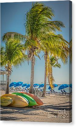 Canoes And Palms - Higgs Beach Key West - Hdr Style Canvas Print by Ian Monk