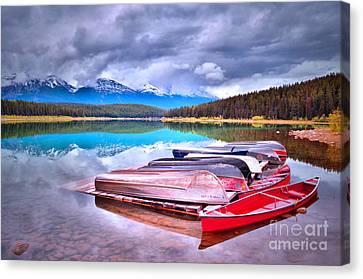 Canoes At Lake Patricia Canvas Print by Tara Turner