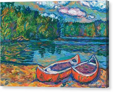 Canoes At Mountain Lake Sketch Canvas Print by Kendall Kessler