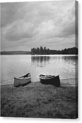Canoes - Canisbay Lake - B N W Canvas Print