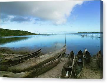 Canoe Canvas Print - Canoes On The Beach, Antananarivo by Keren Su