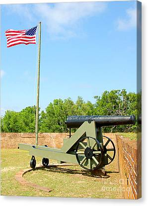 Spanish Fort Canvas Print - Canon At Fort by Cheryl Casey