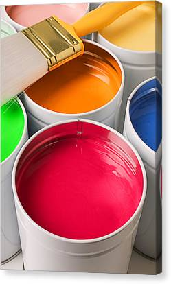 Cans Of Colored Paint Canvas Print by Garry Gay