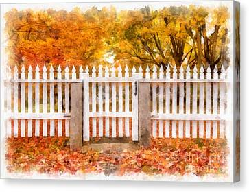 Canterbury Shaker Village Picket Fence  Canvas Print by Edward Fielding