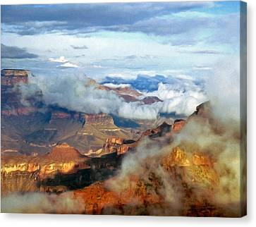 Canvas Print featuring the photograph Canyon Clouds by Alan Socolik
