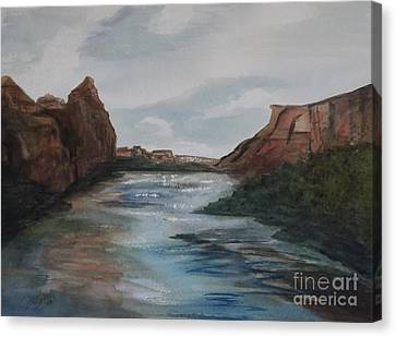 Canvas Print featuring the painting Canyon De Chelly by Ellen Levinson