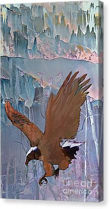 Canvas Print featuring the digital art Canyon Flight by Ursula Freer