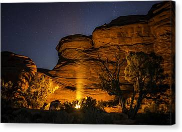 Canyon Lands Camping Canvas Print by Michael J Bauer