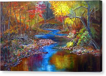 Canvas Print featuring the painting Canyon River by LaVonne Hand