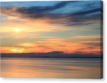 Cape Cod Bay Sunset Canvas Print by John Burk
