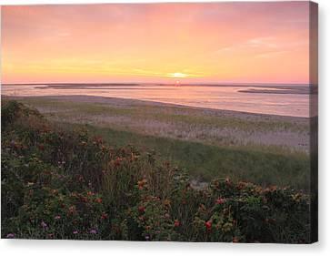 Cape Cod Sunrise At Lighthouse Beach Canvas Print by John Burk