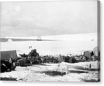 Cape Evans Base In Antarctica Canvas Print by Scott Polar Research Institute