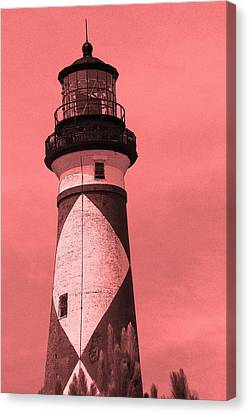 Cape Lookout Light In Red Canvas Print by Cathy Lindsey