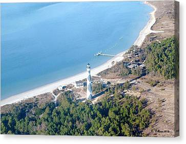 Cape Lookout Lighthouse Aerial View Canvas Print by Dan Williams