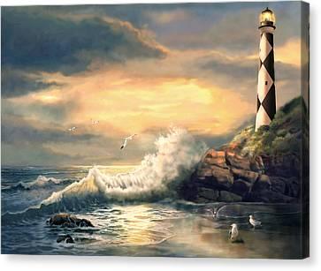 Cape Lookout Lighthouse North Carolina At Sunset  Canvas Print