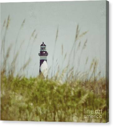 Cape Lookout Lighthouse - Vintage Canvas Print by Kerri Farley