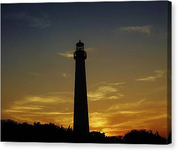 Canvas Print featuring the photograph Cape May Lighthouse At Sunset by Ed Sweeney