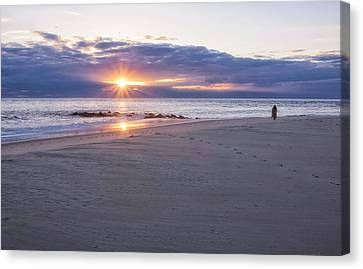 Cape May Point Winter Sunset Canvas Print by Tom Singleton