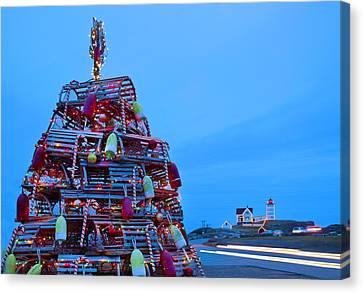 Cape Neddick Lighthouse Christmas Canvas Print by Randy Duchaine